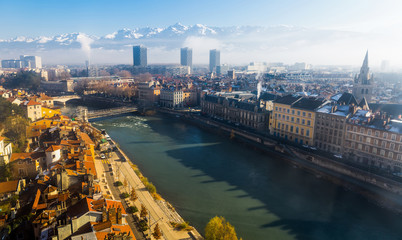 Aerial view of Grenoble Wall mural