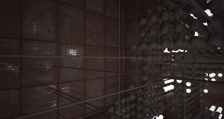 Abstract architectural concrete  and rusted metal interior from an array of spheres with neon lighting. 3D illustration and rendering. Fotoväggar