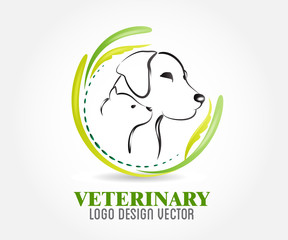 Dog and cat logo vector id card image