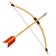 Color image of cartoon bow with arrow on white background. Bow shooting or archery. Vector illustration.