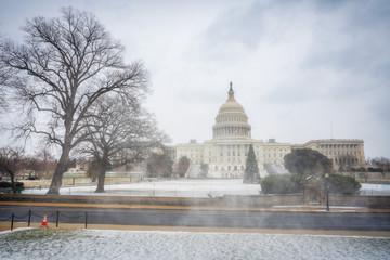 Winter Washington DC: US Capitol at snowy day
