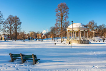 View on Boston public garden at winter