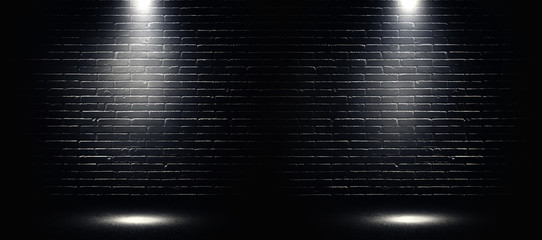 Photo sur Aluminium Lumiere, Ombre Empty space of Studio dark room black brick wall and spotlight with concrete floor.