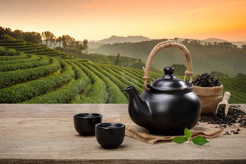 Cup of hot tea with teapot, green tea leaves and dried herbs on the wooden table in plantations...