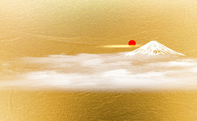 Wall Mural - 富士山と日の出(金色の背景)