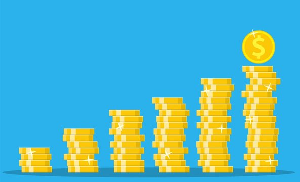 Stack of gold coins. Golden coin with dollar sign. Growth, income, savings, investment. Symbol of wealth. Business success. vector illustration in flat style