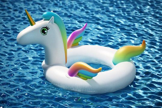 Unicorn shaped child buoy floating on the sea. 3D illustration