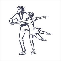 pair figure skating, man and woman skating together, isolated graphic monochrome image