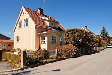 Swedish middle class home in autumn, Malarhojden - Sweden