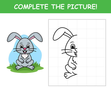 Complete the picture, Cute rabbit vector cartoon illustration
