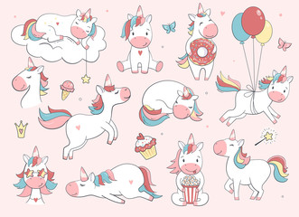 Cute unicorn set.  Vector characters for birthday, invitation, baby shower card, kids t-shirts and stickers kit. Hand drawn nursery illustration.