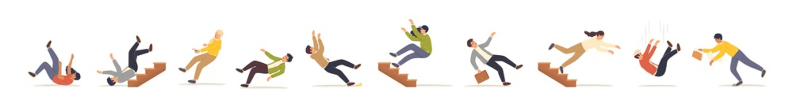 Falling people flat vector illustrations set. Men and women stumbling and falling down stairs cartoon characters. Bad luck, misfortune, fiasco. Business failure, company crash concept.