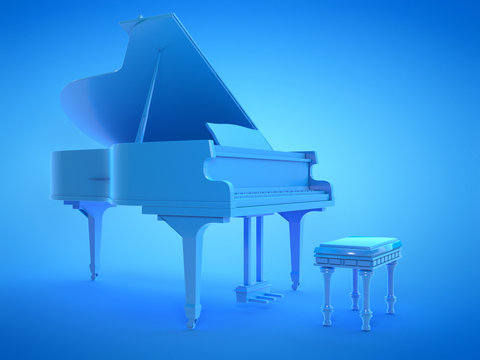 3d rendered illustration of a blue grand piano