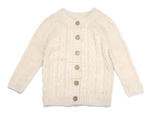 Stylish knitted sweater on white background