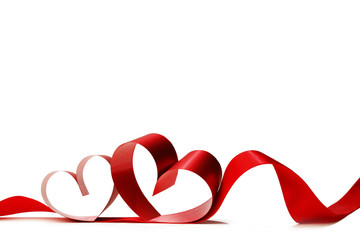 Wall Mural - Red heart ribbon on white