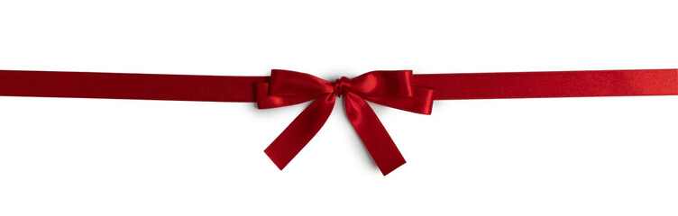 Wall Mural - Red ribbon bow isolated on white