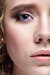 Closeup shot of human female face