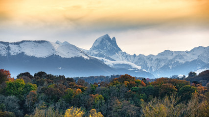 view of Pic du Midi Ossau in autumn, french Pyrenees