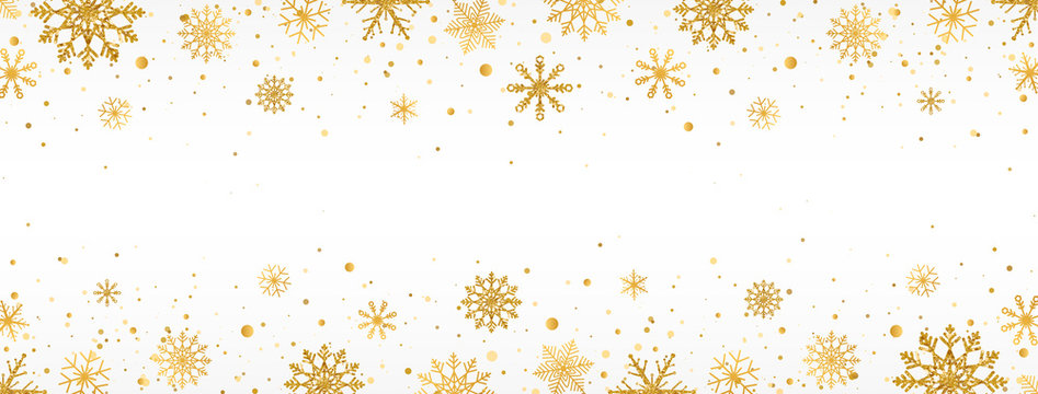 Gold snowflakes frame on white background. Golden snowflakes border with different ornaments. Luxury Christmas garland. Winter ornament for packaging, cards, invitations. Vector illustration