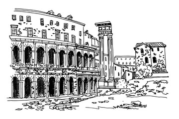 Wall Mural - vector sketch of Theatre of Marcellus (Teatro di Marcello) Rome, Italy.