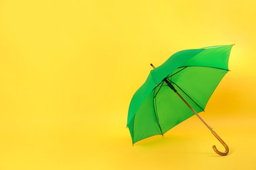 Wall Mural - Beautiful green umbrella on light yellow background. Space for text