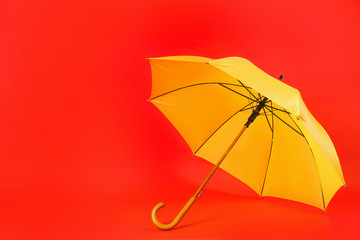 Wall Mural - Beautiful yellow umbrella on red background. Space for text