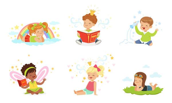 Lovely children read and dream. Vector illustration.