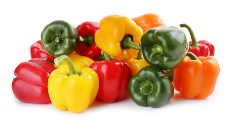 Fresh ripe bell peppers isolated on white