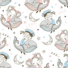 Seamless pattern with cute kids sleeping on whales. Sweet dream. Vector