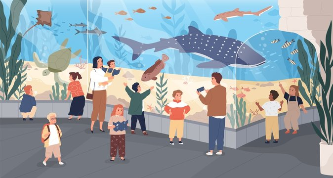 Children in oceanarium flat vector illustration. Parents and kids looking at ocean fishes cartoon characters. Aquarium, marine flora and fauna, underwater fish and sea animals variety.