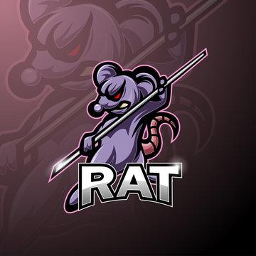 Kungfu rat esport mascot logo design