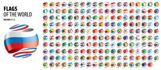 National flags of the countries. Vector illustration on white background Fotomurales