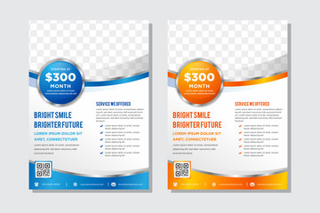Vector blue and orange business brochure, flyer template. Modern wave corporate design. space for photo. circle shape element. vertical layout. Wall mural