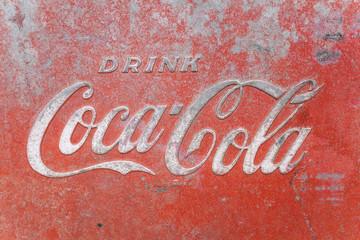 Vintage Metal Coca Cola Logo Advertising Sign