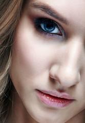 Closeup macro shot of human woman face