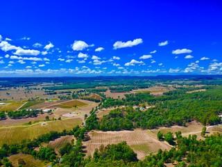 Foto auf Leinwand Dunkelblau Hunter Valley NSW Australia Wine Region Arial Views