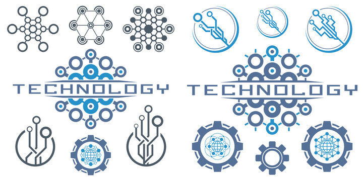 Set of abstract technological conception symbols. Vector technology background.
