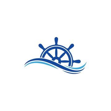 ship steering logo vector icon illustration template design