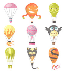 Flat illustration of hot air-balloons. Collection of diferent typs romantic, cartoon animals and burn colorful flying entertainment festival balloons outdoor. Travel, sky transport illustration