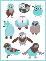 Photo sur Plexiglas Dinosaurs Set of characters of owl 9 designs. Birds in different emotions. Vector cartoon illustration.