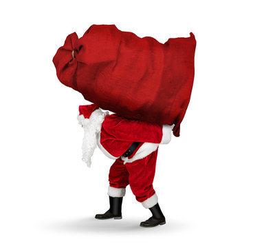 classic traditional crazy funny santa claus on exhausting delivery service. Carrying huge giant big red bag on his back with christmas gift present  isolated white christmas background