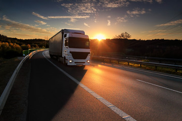 Keuken foto achterwand Nacht snelweg Truck transport on the road and cargo