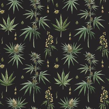 Beautiful vector watercolor medical marijuana seamless pattern. Natural therapeutic drug.