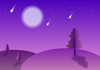 Evening landscape with comets, moon and falling stars. Cartoon flat style vector illustration. Peaceful country side, pink dawn, twilight. Recreation, romantic tourism gradient poster. Fairy tale lawn