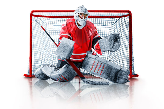 Professional ice hockey goalkeeper or goalie or goaltender isolated on white backgroung