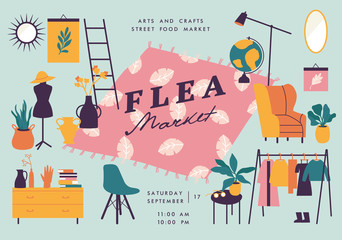 Vector illustration flea market poster with vintage clothes and accessories shop, cartoon flat design. Retail store sale invitation. Rag fair.