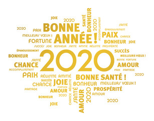 2020 French word cloud Greeting card