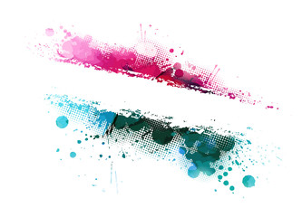 Multi-colored spots of paint on a white background. Grunge frame of paint. Vector illustration.