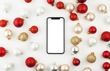 mobile smart phone with blank screen christmas