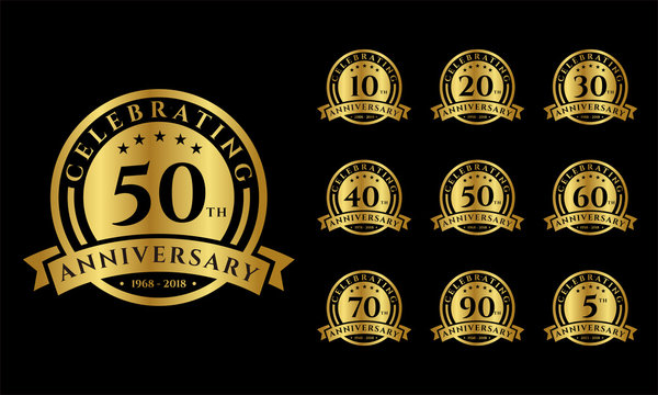 Set of Anniversary emblems vector . Anniversary template design for web, game ,Creative poster, booklet, leaflet, flyer, magazine, invitation card and other us